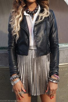 Outshine everyone in a super cool metallic skirt this season #streetstyle find more women fashion on www.misspool.com