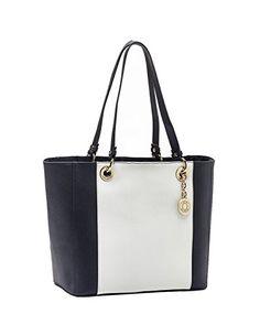 8112a644 Tommy Hilfiger Women's Stripe Pebble Grain Leather Tote Handbag Navy /  White Tommy Hilfiger Handbags,