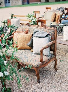 Outdoor ceremony seating | French Countryside Wedding from Beth Helmstetter Events #ceremonies #bodas