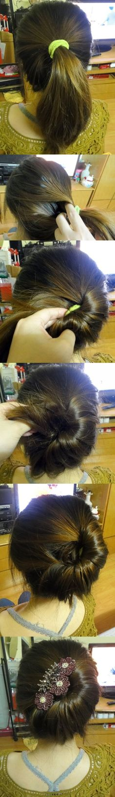 Easy ponytail to something resembling a French twist