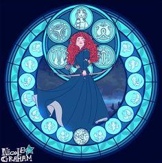 Merida - Brave Stained glass design. Kingdom Hearts-esque