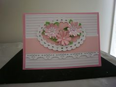Pretty in Pink: These are just a few more cards I have made to add to my collection.  Pretty  in Pink  Pretty in Pink is made from A4 pink cardstock cut in half.  I have