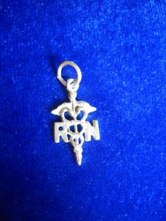 RN, Registered Nurse Charm or Pendant, in Sterling Silver, Just Over 1 Gram