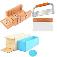 6MILES 2 Pcs Stainless Steel Straight Wavy DIY Making Loaf Garnish Cake Soap Cutter  1 Pcs Newest Wood Box with Line Wire Tool Peelers Slicers Knife Set 1 Pcs Newest Rose Silicone Mold with Box ** Click image for more details.