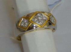 Catawiki online auction house: Diamond ring in white and yellow gold 18kt with Gemological Certificate