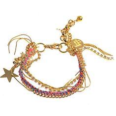VENESSA ARIZAGA Malibu bracelet ($195) ❤ liked on Polyvore featuring jewelry, bracelets, bracelets / bangles / cuffs, pink multi, hinged cuff bracelet, gold cuff bangle, pink jewelry, hinged bangle and gold bangle bracelet