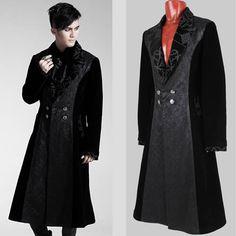gothic victorian clothing for men | ... Velvet Victorian Gothic Fashion Trench Coat Clothing Men SKU-11401421