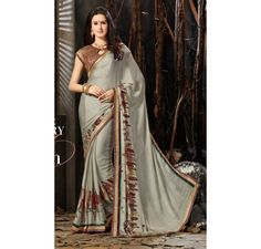 grey Georgette printed saree