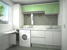 BENATTO: LAVANDERIA SAVONA > MDF Linho, módulo superior em vidro pintado, granito Branco Ceará, tábua de passar roupa embutida Kitchen Storage, Kitchen Decor, Laundry Room Design, Small Room Bedroom, Living Room Designs, House Plans, Sweet Home, New Homes, Home Appliances