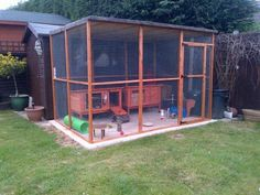 Great little set up! Those are two 3ft hutches - completely inadequate alone but there's now a tube between the two so one is bedroom, the other is day room and they have constant access to their nice secure aviary!