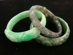 JP: Chinese Antique Carved Jade Bangles