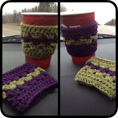 Hard to believe it's Monday already! I spent the weekend out on the east coast of Canada, eating lots of seafood and crocheting during the driving parts of the trip (No, not *while* I was driving!) In between working on orders, I made a bunch of cup cozies, including one for my mum and one for my sister :) they are great projects to use up any leftover yarn! Cup Cozies, It's Monday, Shawls And Wraps, East Coast, Crocheting, Seafood, Coasters, Canada, Stitch