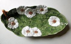Vintage Dogwood Blossom Platter Italian Green Leaf Ceramic Bowl // 1980s Art Pottery by INTRADA Cottage Decor Spring Jackpot Jen