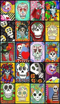 Artist Trading Cards - ATCs and Mail Art for collecting and swapping with other artists Mexican Sugar Skulls, Sugar Skull Art, La Muerte Tattoo, Los Muertos Tattoo, Arte Elemental, Tableau Pop Art, Street Art, Art Du Monde, Retro Poster