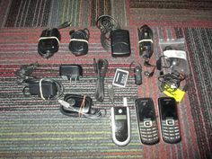 LOT OF CELL PHONE ADAPTERS / CHARGERS & 3 PHONES, SAMSUNG, MOTOROLA & BLACKBERRY #SAMSUNGMOTOROLABLACKBERRY