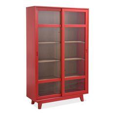Grande vitrine rouge H180cm - Camelia - Les vaisseliers-Buffets et vaisseliers-Salon et salle à manger-Par pièce - Décoration intérieur - Alinea