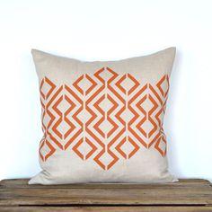 Geo Diamond Pillow Cover - Lt. Natural / Burnt Orange by celineandkate on Etsy https://www.etsy.com/listing/110798224/geo-diamond-pillow-cover-lt-natural