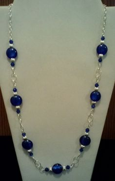 Sapphire Silver Foil and Silver Beaded Necklace on Elegant Silver Eyepin Chain, Handmade Fun Beaded Fashion Jewelry, Blue Silver Necklace - Handmade Beaded Necklace with Sapphire Silver Foil and Silver Beads on an Elegant Eyepin Chain, Han - Beaded Earrings, Beaded Jewelry, Jewelry Necklaces, Beaded Bracelets, Jewelry Holder, Diy Necklace, Long Necklaces, Necklace Ideas, Bead Jewelry