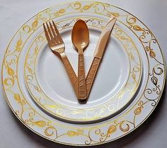 wedding party disposable plastic plates silverware gold rim or silver rim plates & 1369 7.5