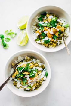 Roasted Tomatillo Chicken and Rice Bowls - homemade tomatillo sauce, chicken, rice, cilantro, tortilla strips, and a squeeze of lime. So good!