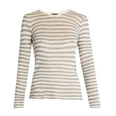 ATM Distressed long-sleeved striped T-shirt (3,410 MXN) ❤ liked on Polyvore featuring tops, t-shirts, grey white, gray t shirt, white long sleeve t shirt, striped t shirt, distressed white t shirt and white tee