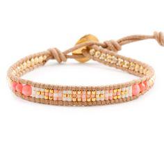 Chan Luu - Salmon Coral Mix Single Wrap Bracelet on Beige Leather, $70.00 (http://www.chanluu.com/bracelets/salmon-coral-mix-single-wrap-bracelet-on-beige-leather/)
