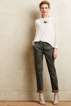 Pilcro Hyphen Paisley Chinos Green Pants  #anthrofave #anthropologie