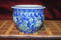 "Asian Porcelain Blue White Green Floral Planter Fish bowl 7 7/8""x5 7/8"", AP2"