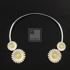 Vintage Danish Gilded Silver Daisy Neck Ring w/ White Enamel - B. Modern Colors, White Enamel, Danish, Rings, Silver, Ebay, Vintage, Money, Vintage Comics