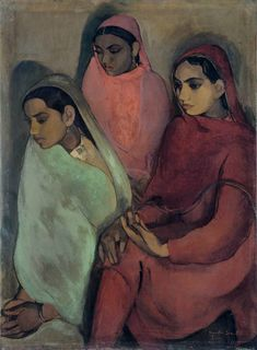 """""""Three girls"""" by Indian painter Amrita Sher-Gil"""