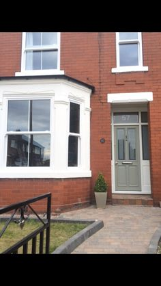 Victorian Style Door. Upvc Sash Windows. Farrow and Ball Pigeon