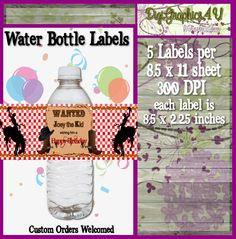 Printable Personalized Cowboy Inspired Water by DigiGraphics4u
