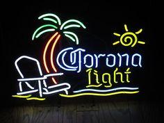 Corona Light Beach Palm Tree Relax Beer Neon sign Bar Pub Extra Mexico Cerveza   eBay