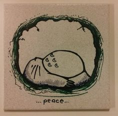 Sleeping Totoro Peace  on 8x8 ceramic tile by ScribbleSketches, $15.00