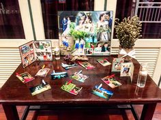 Photo Gallery on the table in rustic theme at Buddy Oriental Riverside
