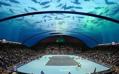 "thekhooll: ""Underwater Tennis Court Concept Studio See the full article here: You cannot be serious! Architect serves up plans for an underwater tennis court off the coast of Dubai "" Interior Design Blogs, In Dubai, Tennis Match, Play Tennis, Wimbledon, Us Open, Phuket, Luxury Boat, Ras Al Khaimah"