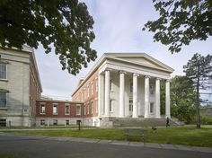 Constructed between 1833 and Snug Harbor, which is now a cultural complex, was originally a dormitory for former sailors. One of a grouping of five Greek Revival edifices, Building A Architectural Elements, Architectural Digest, New York Landmarks, Staten Island New York, Snug Harbor, Architect Design, New York City, Nyc, Construction