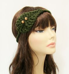 """FREE SHIPPING - Leaf Bohemian Headband with beads - Elastic - Dark Forest Green, Tan. $8.00, via Etsy. Coupon code """"Pin10"""" saves you 10%! #christmas #gift #giftguide #giftsforher #crochet #etsy #yarn"""