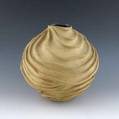 Carved Modern Sculptural Ceramic Pottery Vessel: Toasted Tan. $100.00, via Etsy.