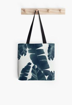 """Banana Leaves Green Blue Vibes #2 #tropical #decor #art"" Tote Bags by anitabellajantz 