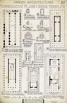 Greek temple plans Arch Drawings Prints Pinterest