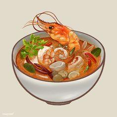 Tom yum kung soup illustration Premium V. Thai Recipes, Asian Recipes, Real Food Recipes, Tom Yum Kung, Cute Food Art, Food Sketch, Cute Food Drawings, Food Cartoon, Watercolor Food