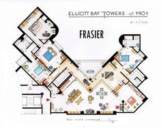 Artist Draws Detailed Floor Plans of Famous TV Shows | Bored Panda