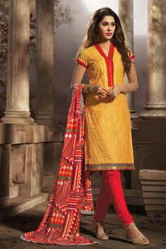Yellow Chanderi Churidar Suit