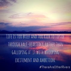 Life is too brief and too rich to tiptoe through half-heartedly. (from There Are Other Rivers)