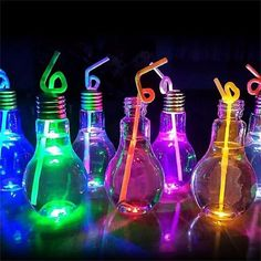 Drink Containers & Thermoses Luminous Plastic Light Bulb Shaped Bottle Drink Cup Water Bottle Party Home Deco & Garden Neon Birthday, Birthday Party For Teens, 18th Birthday Party Themes, Sommer Pool Party, Glow In Dark Party, Black Light Party Ideas, Juice Bottles, Water Bottles, Bottle Bottle