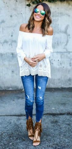 Spring outfit inspiration off the shoulder white blouse and ripped jeans