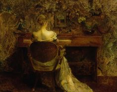 """""""The Spinet"""" by Thomas Wilmer Dewing. 1902 oil on wood panel. Not very big, but probably my fave Dewing of the day. In the collection of The Smithsonian American Art Museum, Washington, DC. Gift of John Gellatly."""