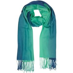 Mila Schon Long Scarves Gradient Blue/Green Wool and Cashmere Fringed... (5.245 RUB) ❤ liked on Polyvore featuring accessories, scarves, blue, long scarves, green scarves, wool shawl, wool scarves and woolen scarves