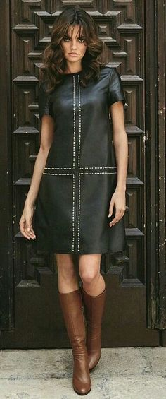 Black leather dress and brown boots Tight Dresses, Simple Dresses, Cute Dresses, Casual Dresses, Fashion Dresses, Fashion Mode, Girl Fashion, Womens Fashion, Fashion 2018